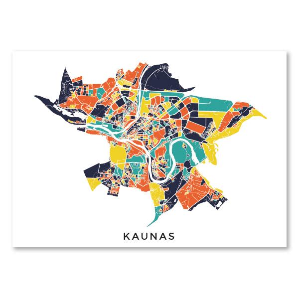 Kauno spalvotas žemėlapis