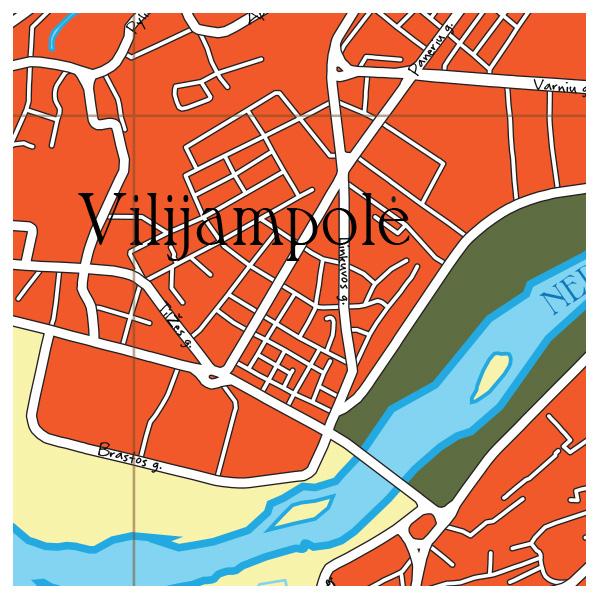 Kauno vintage žemėlapio fragmentas