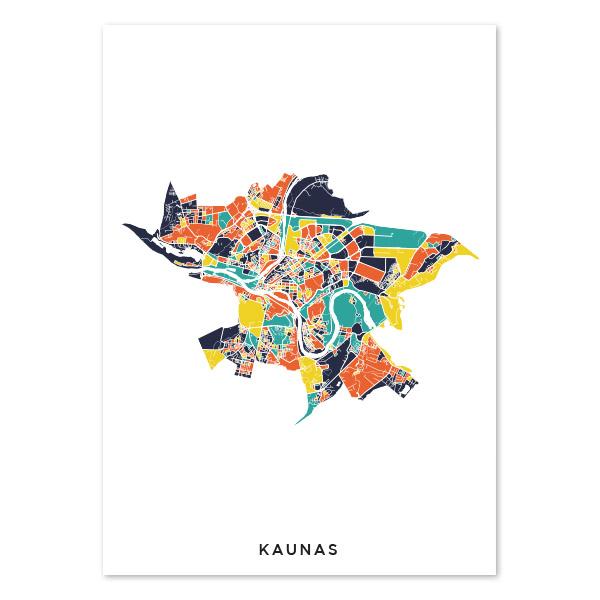 Kauno spalvotas žemėlapis (vertikalus)