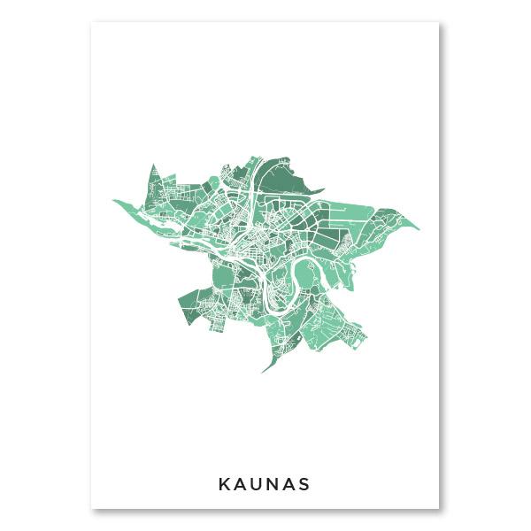 Kauno žalsvas žemėlapis (vertikalus)